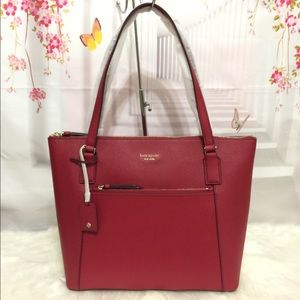👜NWT Kate Spade Zip Pocket Tote Bag Maroon